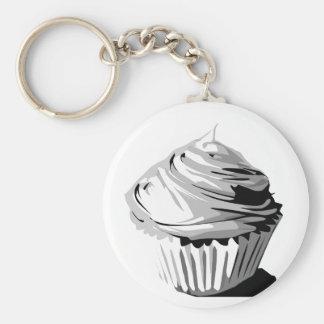 Grayscale cupcake keychain