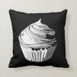 Grayscale cupcake pillow