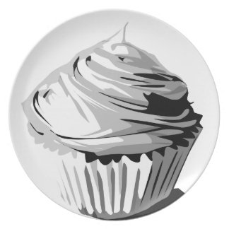 Grayscale cupcake plate