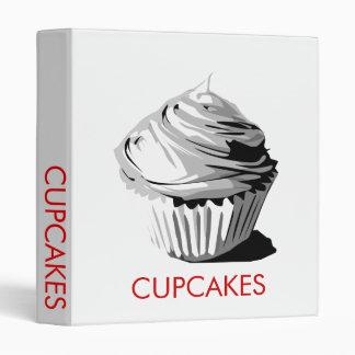Grayscale cupcake recipe binder