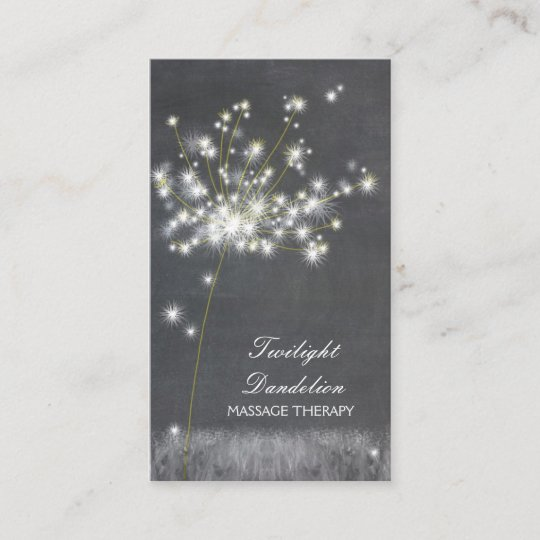 grayscale dandelion massage therapy business cards - Massage Therapy Business Cards