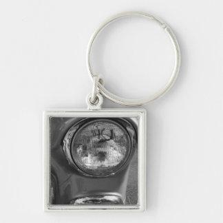Grayscale de la linterna de 55 Chevy Llavero Cuadrado Plateado