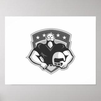 Grayscale del casco del jugador de fútbol american