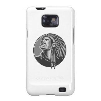 Grayscale del jefe indio del nativo americano