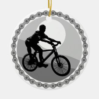 grayscale del piñón de cadena de la bici de adorno navideño redondo de cerámica