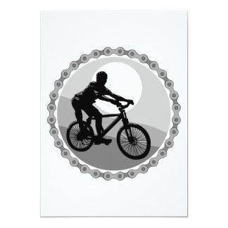 """grayscale del piñón de cadena de la bici de invitación 5"""" x 7"""""""