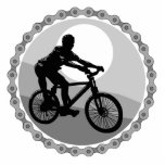 grayscale del piñón de cadena de la bici de montañ escultura fotografica