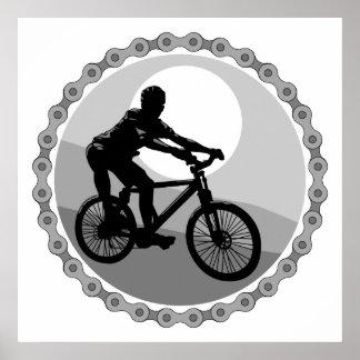 grayscale del piñón de cadena de la bici de montañ póster