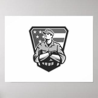 Grayscale doblado brazos americanos de la bandera