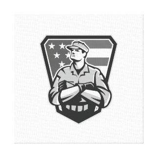 Grayscale doblado brazos americanos de la bandera  impresión de lienzo