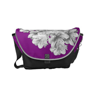 Grayscale Drawing Flower Art Grey + Pick Colors Small Messenger Bag
