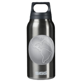 grayscale-Earth SILVER METALLIC CONTINENTS BACKGRO 10 Oz Insulated SIGG Thermos Water Bottle