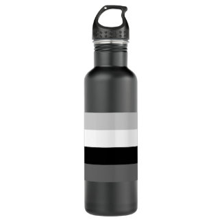 Grayscale line pattern stainless steel water bottle