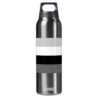 Grayscale line pattern thermos water bottle