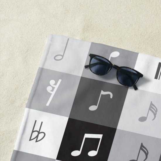 Grayscale music notes pattern beach towel