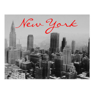 Grayscale New York City Night Postcard
