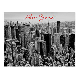 Grayscale Red Script New York City Night Post Card