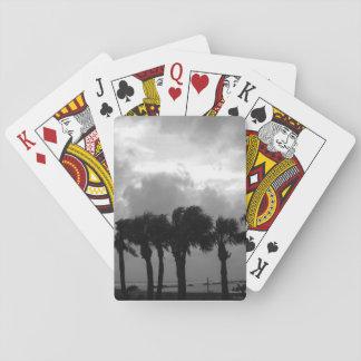 Grayscale tempestuoso tropical de los cielos barajas de cartas