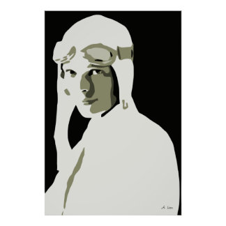 Grayscale vector art Amelia Earhart Poster
