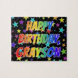 "[ Thumbnail: ""Grayson"" First Name, Fun ""Happy Birthday"" Jigsaw Puzzle ]"