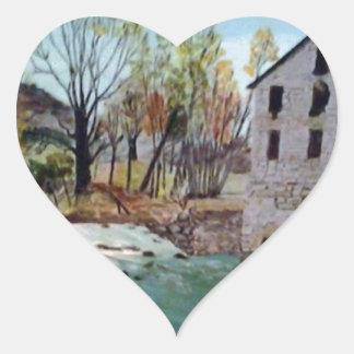 Graysville Mill -Grandpa's painting Heart Sticker