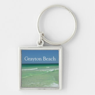 Grayton Beach Florida Waters 30A South Walton Silver-Colored Square Keychain