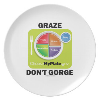 Graze Don't Gorge (MyPlate Diet Food Group Humor) Melamine Plate