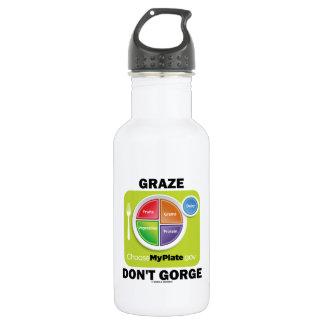 Graze Don't Gorge (MyPlate Diet Food Group Humor) 18oz Water Bottle