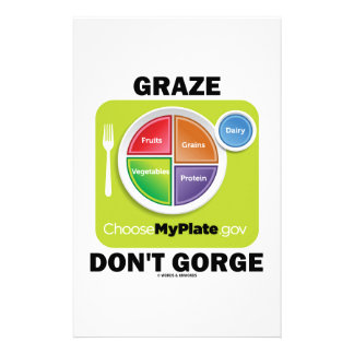 Graze Don't Gorge (MyPlate Diet Food Group Humor) Stationery