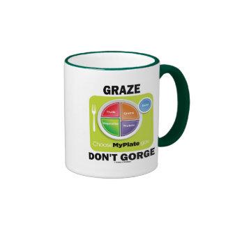 Graze Don't Gorge (MyPlate Food Group Attitude) Ringer Mug