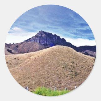 Grazed Land In Summer, Coromandel Peninsula, North Classic Round Sticker