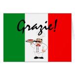 Grazie agradece al cocinero italiano tarjeta pequeña