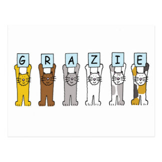 Grazie, Italian thanks, with cats. Post Card