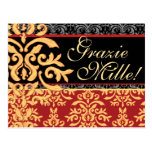 Grazie Mille Gilded Damask Italian Thank You Cards Postcard