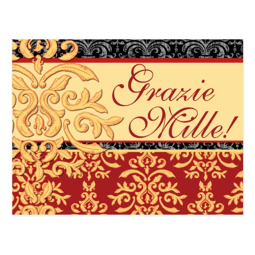 Grazie mille gilded damask italian thank you cards postcard zazzle