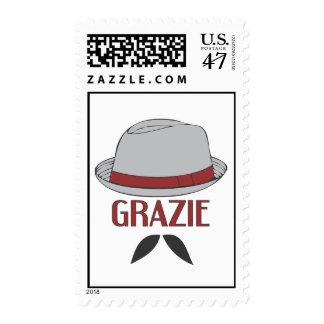 Grazie Mustache Postage Stamp