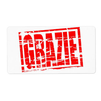 Grazie red rubber stamp effect label