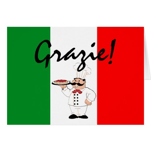 Grazie Thanks Italian Chef Greeting Cards