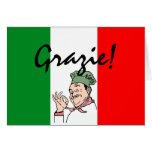 Grazie Thanks Italian Chef on Italy Flag Card