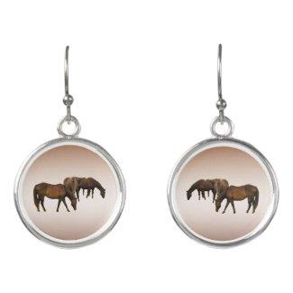 Grazing Brown Horses Animal Drop Earrings