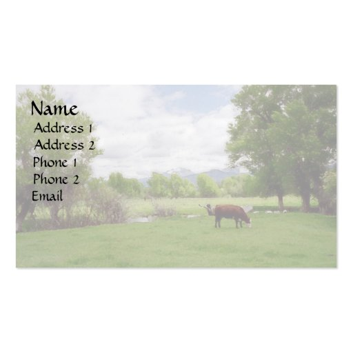 Grazing Cattle v3 Business Card Templates