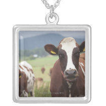 Grazing cows silver plated necklace
