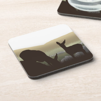 Grazing Deer and Fawn Silhouette Coaster
