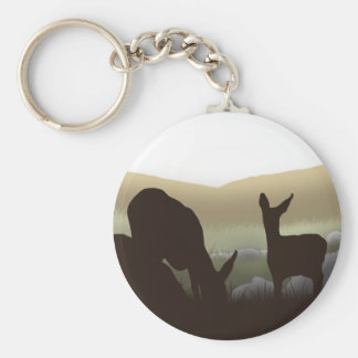Grazing Deer and Fawn Silhouette Keychain