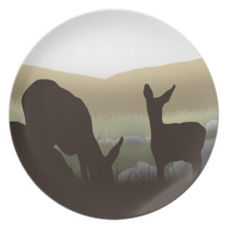 Grazing Deer and Fawn Silhouette Plate