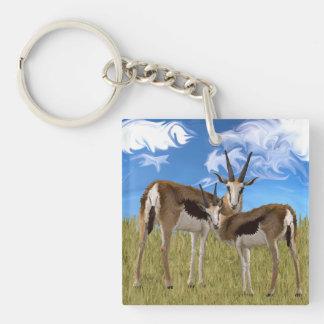 Grazing Gazelles Double-Sided Square Acrylic Keychain