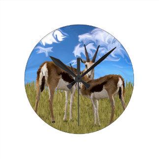 Grazing Gazelles Round Clock