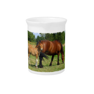 Grazing Horse Family Pitcher