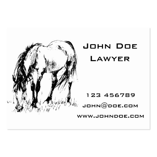 Grazing Horse Illustration Business Cards