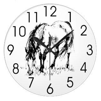 Grazing Horse Illustration Wall Clocks
